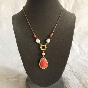 """Coral & Gold """"Y"""" Necklace and Earring Set"""